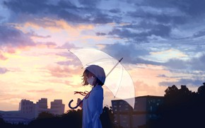 Picture the sky, girl, trees, the city, umbrella