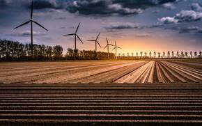 Picture Netherlands, windmills, Geometric nature