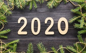 Picture New Year, Christmas, christmas, new year, wood, merry, decoration, fir tree, 2020, fir-tree branches
