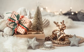 Picture decoration, Christmas, New year, new year, Christmas, vintage, winter, sweater, bokeh, decoration, cozy