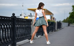 Picture pose, model, skirt, makeup, Mike, figure, hairstyle, brown hair, legs, is, promenade, sneakers, ass, the …
