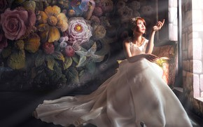 Picture girl, rays, light, flowers, face, pose, the dark background, wall, white, chair, hands, dress, window, …