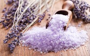 Picture flowers, relax, wood, lavender, spa, bath salt