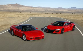 Picture Red, New, Sports car, Old, Acura NSX