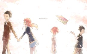 Picture girl, children, Anime, guy, 2016, You no Katachi, A Silent Voice, Form Voice