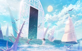 Picture sea, girl, space, the moon, seagulls, the portal