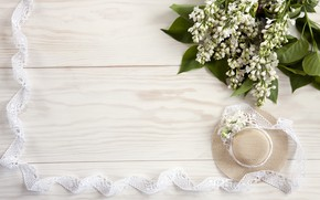 Picture flowers, hat, white, white, lace, wood, flowers, spring, lace