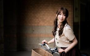 Picture look, girl, bike, hair, Asian, bokeh