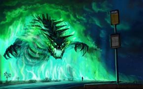 Picture fantasy, Monster, road, night, stars, artwork, fantasy art, person, creature, signal, signboard