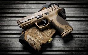 Picture gun, background, glove