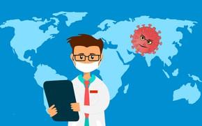 Picture warning, map, distribution, virus, coronavirus