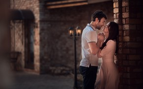 Picture girl, love, people, romance, the building, pair, lantern, guy, date, lovers, Marianne Smolin