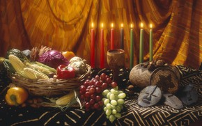 Picture style, candles, corn, grapes, nuts, vegetables, дух Мексики