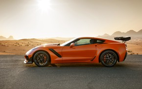 Picture orange, Corvette, Chevrolet, ZR1, side view, 2019