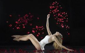 Picture girl, pose, petals