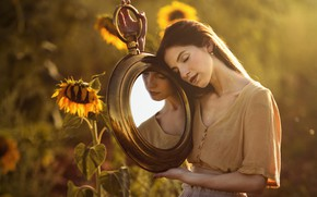 Picture summer, girl, sunflowers, mirror