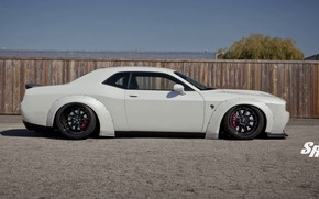 Picture Muscle, Dodge Challenger, Coupe, White, Hellcat, Widebody, Vehicle, Liberty Walk