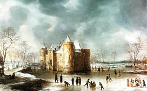 Picture landscape, picture, Ian Abraham Bearstate, Maiden Castle In Winter, Jan Abrahamsz van Beerstraten