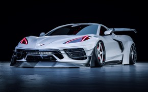 Picture Auto, White, Machine, Car, Chevrolet Corvette, Supercar, Rendering, Supercar, Custom, Sports car, Sportcar, Javier Oquendo, …