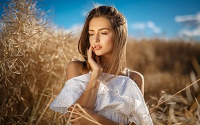 Wallpaper field, the sky, grass, the sun, portrait, makeup, dress, hairstyle, brown hair, beauty, in white, ...