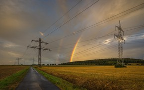 Picture road, field, rainbow, power lines