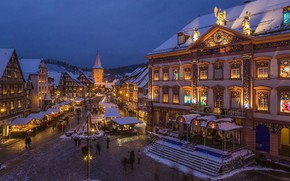 Picture lights, Germany, Christmas, Baden-Württemberg, Gengenbach