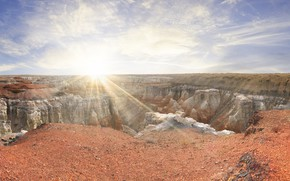 Picture the sun, mountains, open, rocks, panorama, USA, The Grand Canyon, canyons