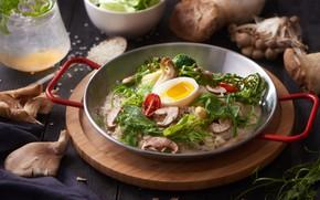 Picture mushrooms, egg, dish