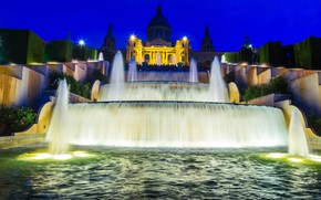 Picture night, design, lights, waterfall, lights, Spain, cascade, fountains, Palace, Barcelona
