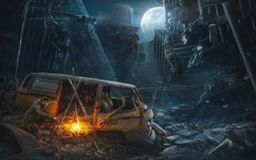 Picture Night, The city, The moon, Fire, People, Machine, The fire, Apocalypse, Destruction, Halt, Pavel Bondarenko, …