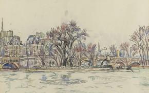 Picture figure, watercolor, Paul Signac, Paul Signac, Ver-Galan in Paris