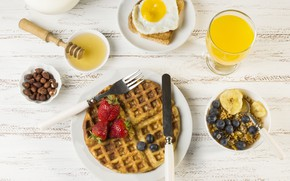 Picture berries, Breakfast, blueberries, strawberry, juice, honey, banana, waffles, orange, granola