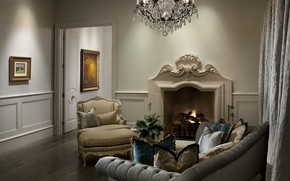 Picture design, room, sofa, interior, chair, pillow, chandelier, pictures, fireplace, apartment, living room, Drapes