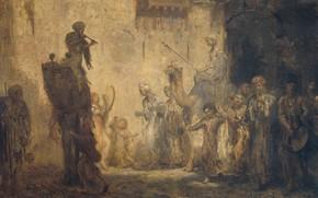 Picture oil, picture, canvas, 1911, genre, Marius Alexander Jacques Bauer, Marius Bauer, Eastern wedding
