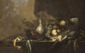 Picture oil, picture, canvas, 1673, Still life with fruit, Michiel Siemons