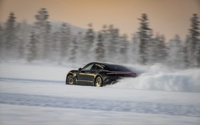 Picture winter, snow, black, Porsche, track, 2020, Taycan, Taycan 4S