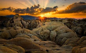 Picture the sun, clouds, sunset, mountains, stones, rocks, USA, relief, boulders