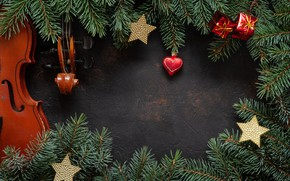 Picture decoration, New Year, Merry, fir tree, decoration, balls, New Year, Christmas, fir-tree branches, wood, balls, …
