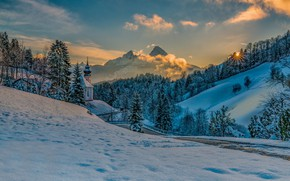 Picture winter, road, the sun, rays, snow, trees, landscape, sunset, mountains, nature, hills, Bayern, Alps, Church, …