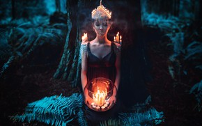 Picture girl, night, style, candles, fantasy, image, nymph, photoart, Kindra Nikole
