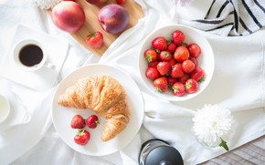 Picture peach, coffee, cakes, strawberry, milk