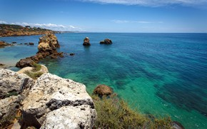 Picture sea, the sky, the sun, stones, coast, horizon, Portugal