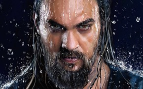 Picture look, beard, Aquaman, Aquaman, water, figure, Jason Momoa, King Of Atlantis, Joseph Momoa, eyes, drops