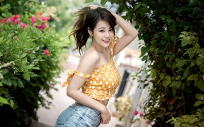 Picture girl, pose, smile, Asian, cutie