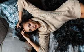 Picture look, girl, pose, pillow, hands, sweater, Pavel Ermakov