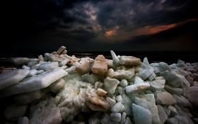 Picture sea, night, shore, ice