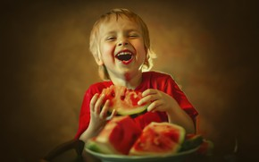 Picture joy, watermelon, plate, child, Ксения Лысенкова