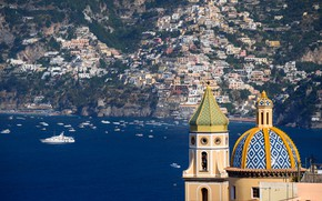 Picture Italy, Amalfi coast, Praiano, the Church of St. Januarius, in the background - Positano