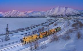 Picture winter, snow, landscape, mountains, nature, train, railroad, Khibiny, The Arctic, Сергей Крылов