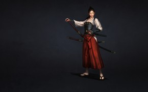 Picture Girl, Japan, Art, Style, Samurai, Minimalism, Katana, Sword, Japanese, Houfeng Lee